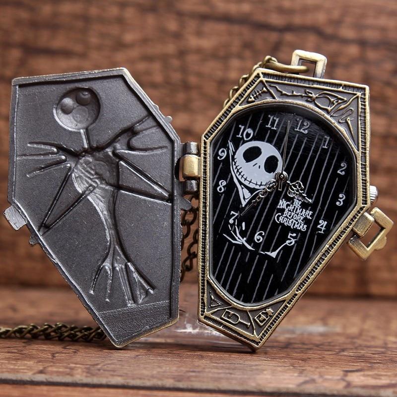 Antique Skull Nightmare Before Christmas Quartz Pocket Watch Necklace Chain Pendent Retro Mens Bronze Vintage Pocket Watches