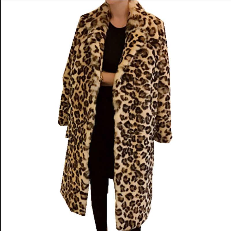 c469f1cc934e ... Classic Leopard Print Color Faux Fur Coat Women Long Thick Warm Jackets  Fluffy Star Style Overcoats