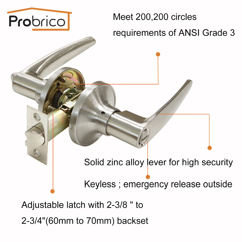 Probrico Privacy Keyless Door Locks Stainless Steel Satin Nickel Lever Door Handle For Toilet Bathroom Kitchen Interior Door