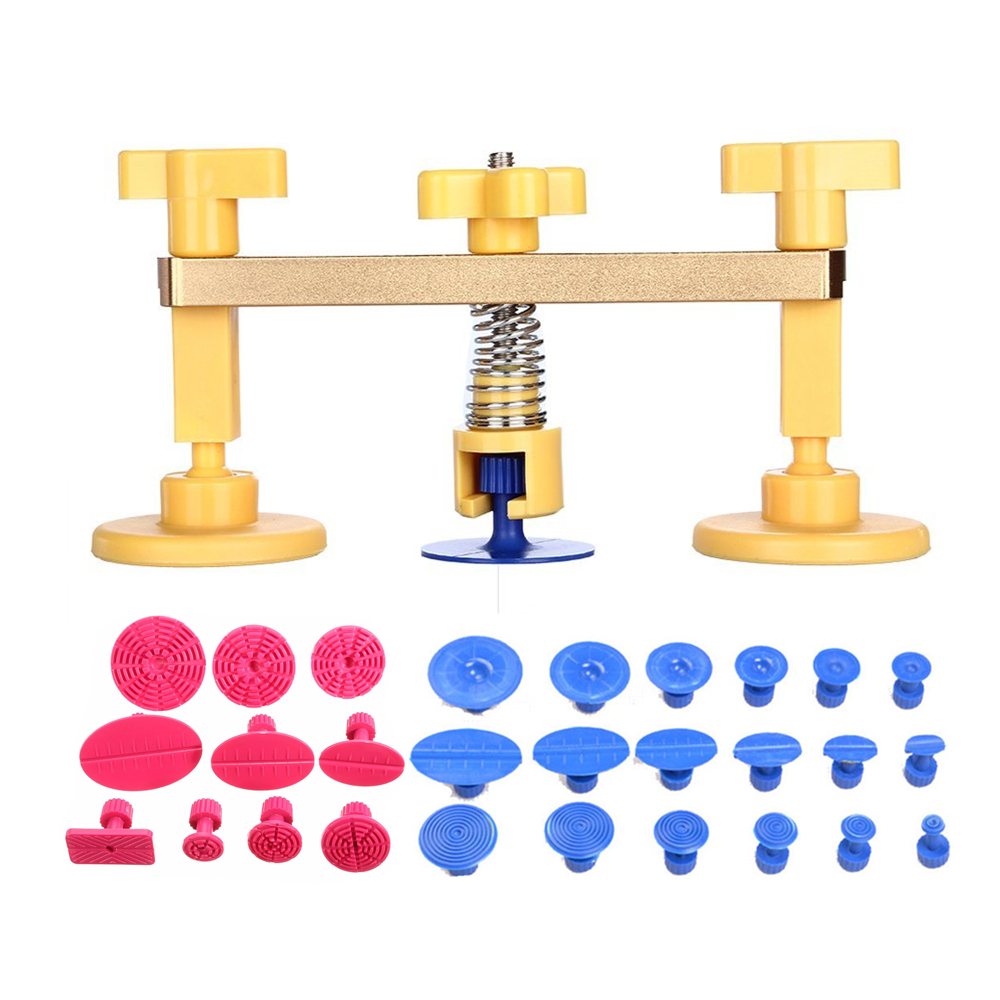 PDR Tools Golden Bridge -28pcs PDR Puller Tabs Car Dent Removal Paintless Dent Repair Hand Tool Set for Car Body Dent Removal