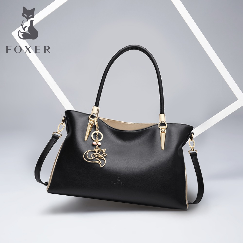FOXER Brand Cowhide Leather Women Handbag & Shoulder Bag Fashion Female Totes Lady High Quality Totes Women's Crossbody Bags foxer brand women s leather handbag fashion female totes shoulder bag high quality handbags