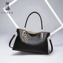 hot deal buy foxer brand cowhide leather women handbag & shoulder bag fashion female totes lady high quality totes women's crossbody bags