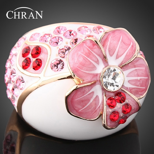Chran Trend Enamel Pink Flower Desgin Promised Rings For Women Gold Color Crystal Engagement Rings Jewelry Accessories