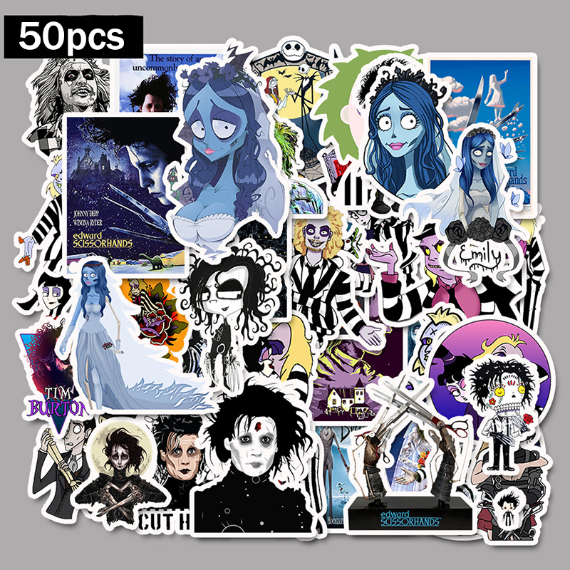 50pcs Stickers Tim Burton Classic Movie Edward Scissorhands Graffiti Sticker For Skateboard Laptop Bicycle Waterproof Decals-in Stickers from Toys & Hobbies