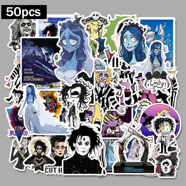 50pcs Stickers Tim Burton Classic Movie Edward Scissorhands Graffiti Sticker For Skateboard Laptop Bicycle Waterproof Decals F5