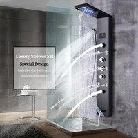 Роскошный Черный душевая колонна кран светодио дный свет на стену Ванная комната Ванна Системы SPA распылитель для массажа Температура Экра