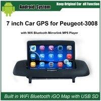 Повышен оригинальный автомобилей радио плеер костюм для peugeot 3008 автомобилей Видео плеер встроенный Wi Fi gps навигации Bluetooth