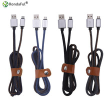 NEW Cowboy Material 30cm charging cable for Android Phone Data sync phone charger Micro USB changer Cable lines (4 colors)