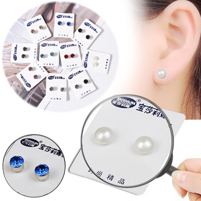 1 Pair Magnetic Therapy Weight Loss Earrings Magnet In Ear Eyesight Slimming Healthy Stimulating Acupoints Stud