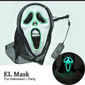 Free shipping 2016 New Fashion Style Halloween party decorations El wire Flashing Mask ghost scary masks Colorful Anonymous