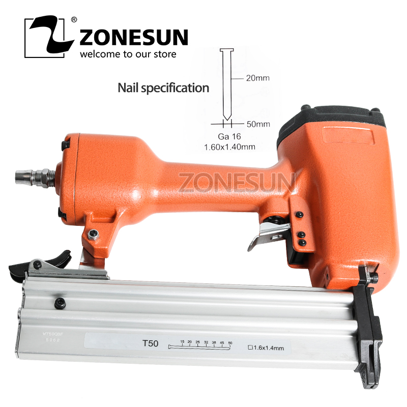 цена на ZONESUN Pneumatic Air Stapler Gun Stapler Nail Gun Stapling Machine For Furniture Woodworking Carpentry Decoration Carpenter50mm