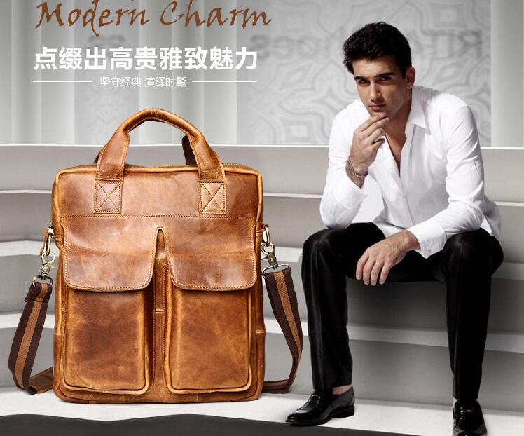 New arrival men's vintage portable messenger bag one shoulder cros body bag business bag first layer  briefcase genuine leather wp cros php