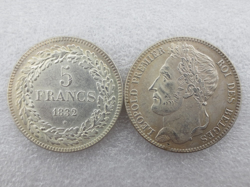 Belgium 1832 leopold Premier Roi Des Belges 5 Francs Copy Coins