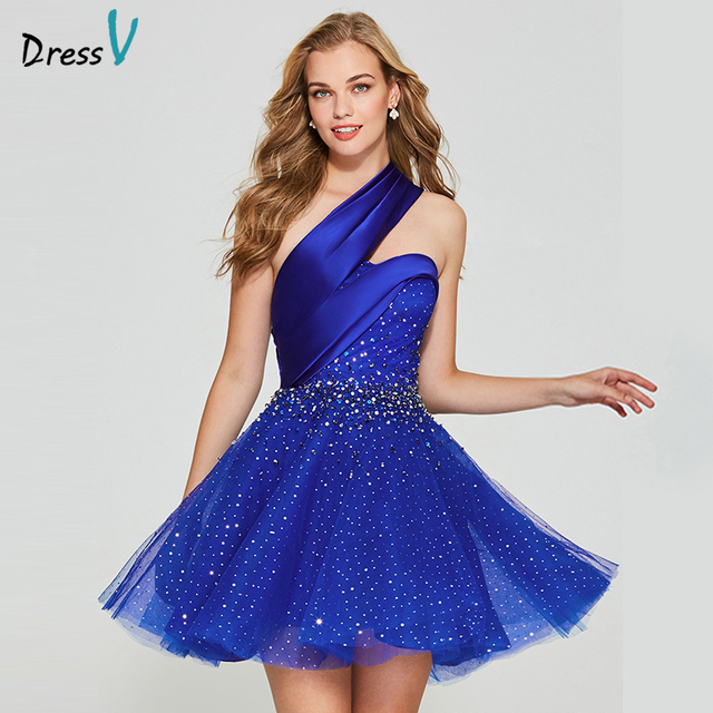 Dressv dark blue elegant homecoming dress a line one shoulder backless short mini beading homecoming&graduation dresses