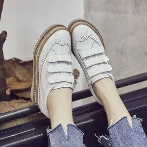 Image 4 - Swyivy Chaussures Lederen Casual Schoenen Vrouw Sneakers Femme 2019 Winter Platform Witte Sneakers Voor Vrouwen Haak Lus Dames Schoen