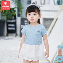 Tinsino Baby Girls Cute Polka Dot Denim Dress Infant Girl Sweet Princess Dress Toddler Children Summer Clothes Kids Clothing