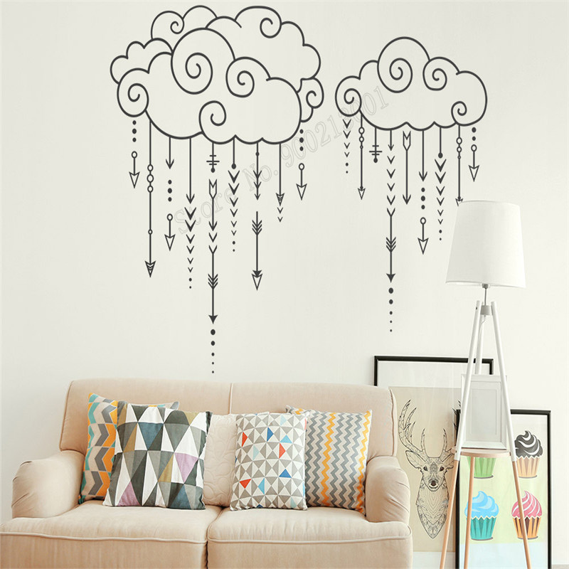 Wall Art Sticker Arrow Rain Cloud Decoration Vinyl Removeable Kisroom Sticker Beauty Ornament Become Interesting Mural LY505 in Wall Stickers from Home Garden