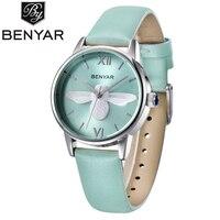 Women Watch BENYAR Luxury Brand Fashion Casual Leather Women Waterproof Quartz Watch Simple Style Design Watch