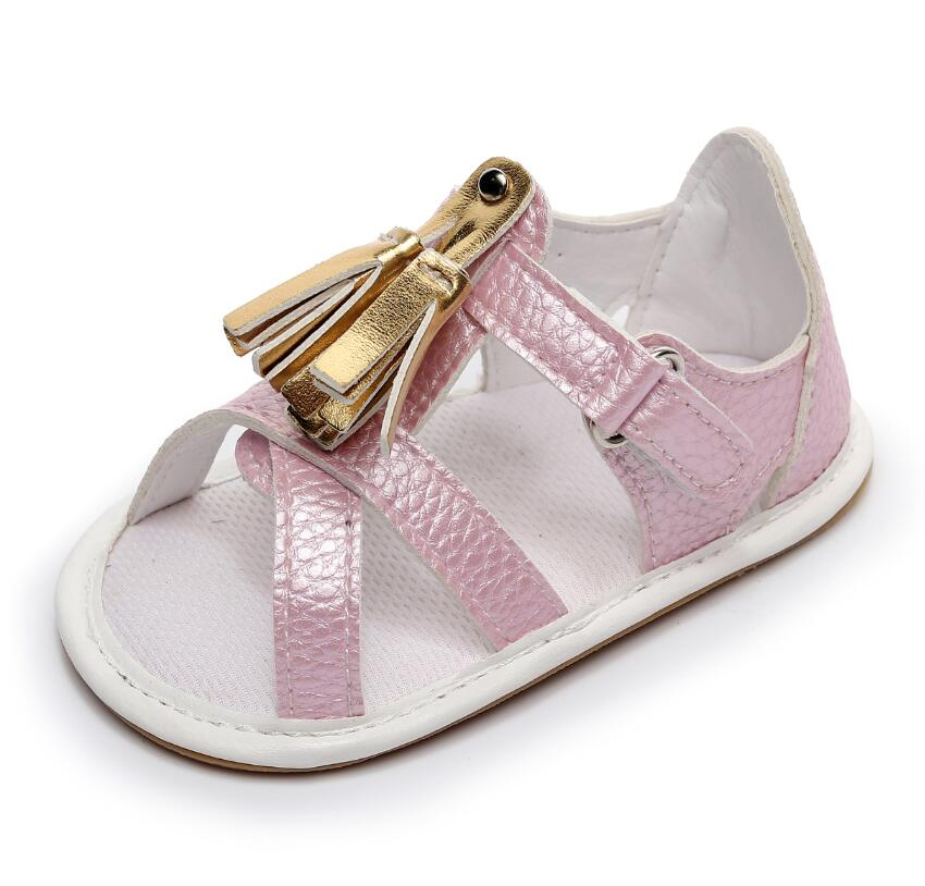7196166fc17b75 2019 new summer baby moccasins hard sole baby girls boys shoes gold tassel PU  toddler floral