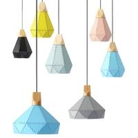 Modern pendant light LED blub vintage iron Wood lamp socket indoor Hanging lighting dining room bar shop ceiling decoration