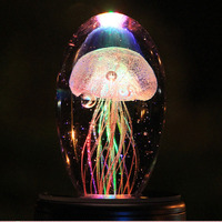 Jelly Fish Crystal Table Lamp Multi Color Bedside Led Night Light with light Base Novelty Baby Sleeping Night Light 3D Led Lamp