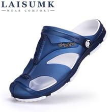 цены 2020 LAISUMK Mens Flip Flops Sandals Casual Men Shoes Summer Fashion Beach Flip Flop Slippers Sapatos Hembre Sapatenis Masculino