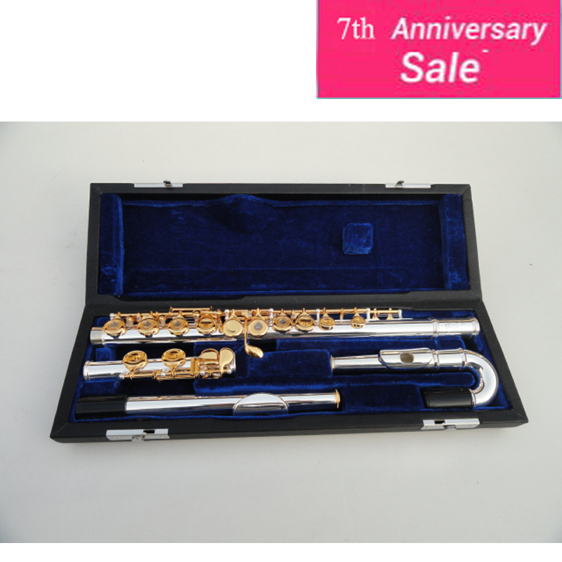 Small Elbow Flute The YFL-271S 16 Hole Openings Plus The E Key C Flute Musical Instrument Silver Body Gold Keys Flute With Case