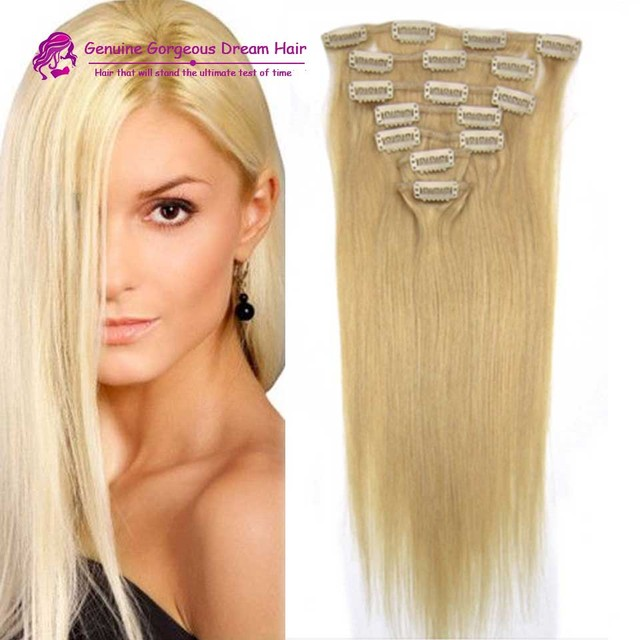 Double Wefted Clip In Human Hair Extensions Malaysian Hair Clip Ins Straight Remy #24 Blonde Human Hair Extensions Clip In 70G