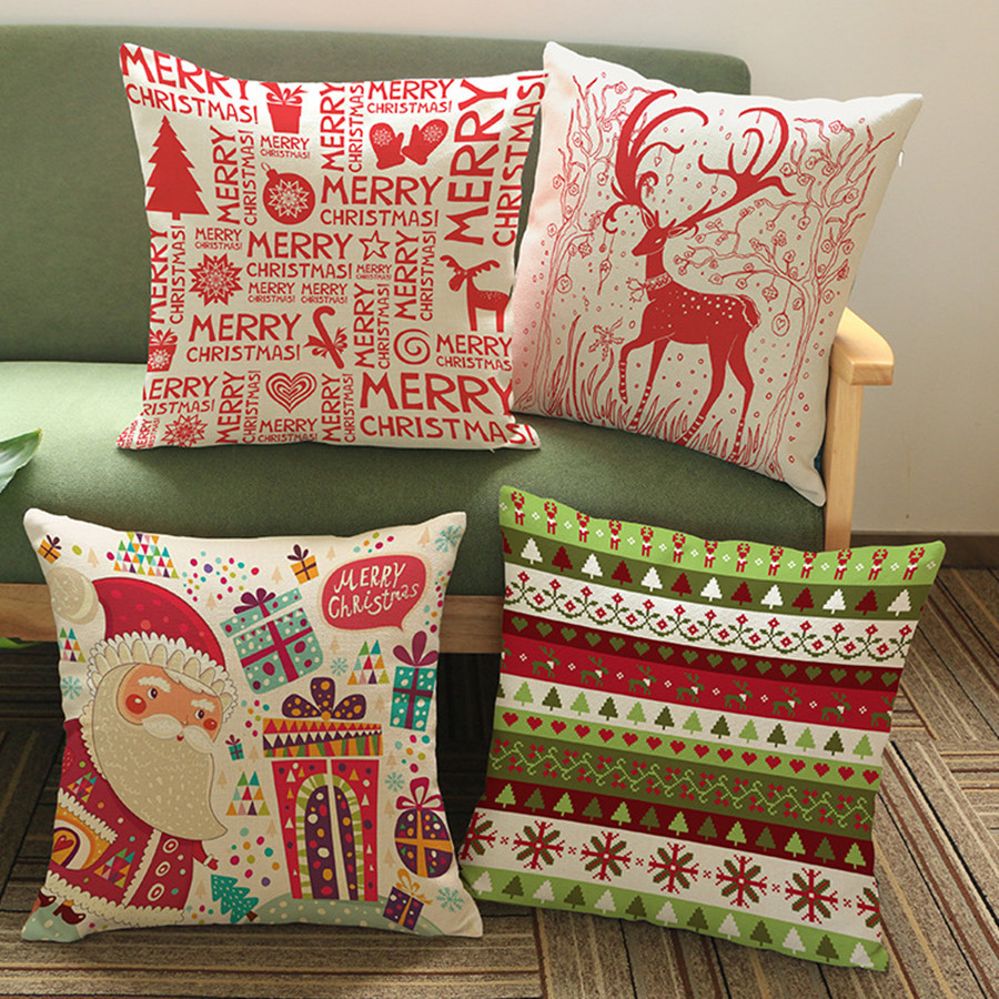 Christmas Cushion Cover Christmas Decoration Cartoon Santa Claus Elk JOY Holly pattern Sofa Decorative Cushion Pillow Case Gifts-in Cushion Cover from Home ... & Christmas Cushion Cover Christmas Decoration Cartoon Santa Claus ... pillowsntoast.com