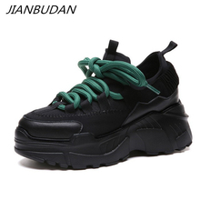 JIANBUDAN/ sneakers new Womens casual shoes Platform wedge Breathable walking Lace-Up Fashion Increasing Height