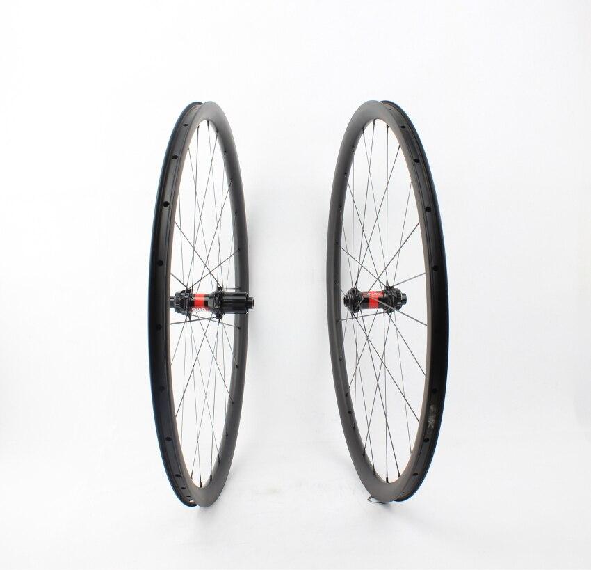 Farsports FSC30-CM-25 DT240 moyeu serrure centrale 12 100 12 142 essieu frein à disque roue de vélo de route, 25mm de large roue de cyclisme en carbone