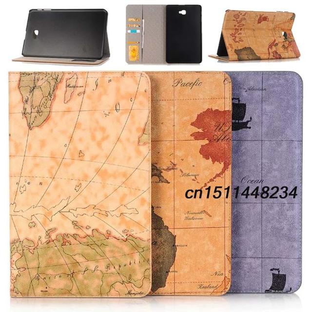 "Alta qualidade mapa padrão case para samsung galaxy tab 2016 T585 T580/N tablet luxo a6 capa funda Para Samsung tab 10.1 ""cobrir"