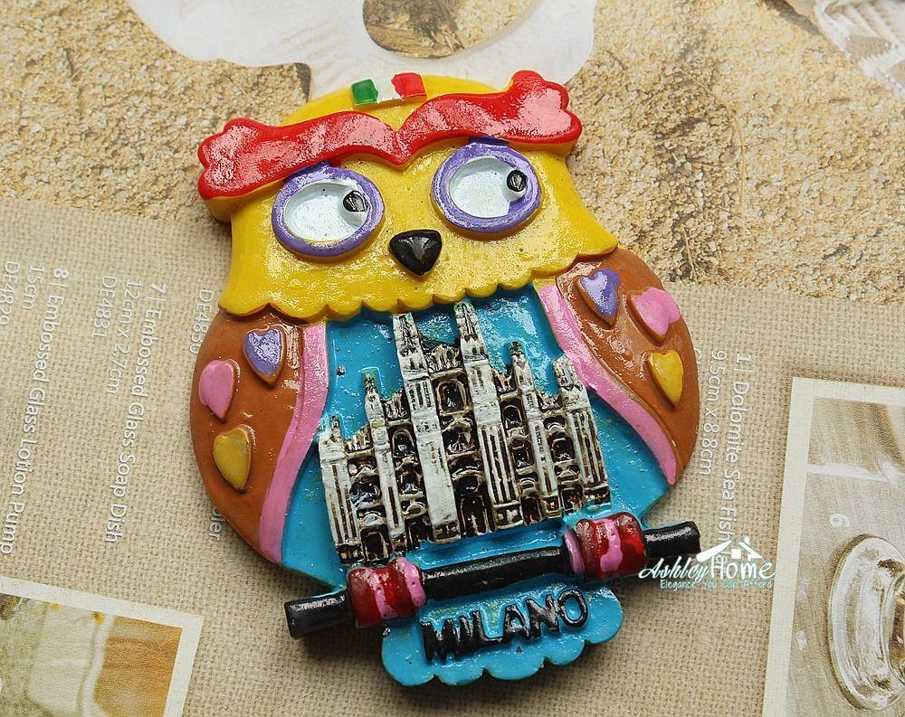 Italy Milano Milan Cathedral Tourist Travel Souvenir 3D Resin Fridge Magnet Craft Funny Owl