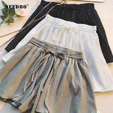 NEEDBO Women Shorts Skirts High Waist Casual Plus Size Shorts Women Office Ladies Summer Shorts Elastic Waist Wide Leg Shorts