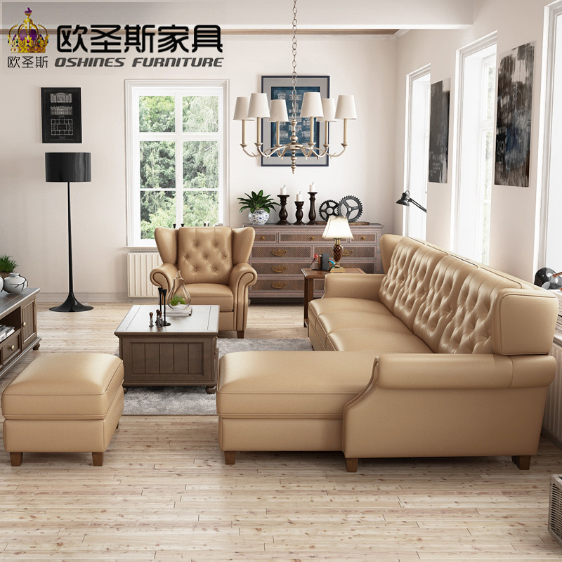 Light Coffee American Style New Designs 2017 Sectional Living Room Furniture  L Shaped Corner Victorian Leather Sofa Set F80L In Living Room Sofas From  ...