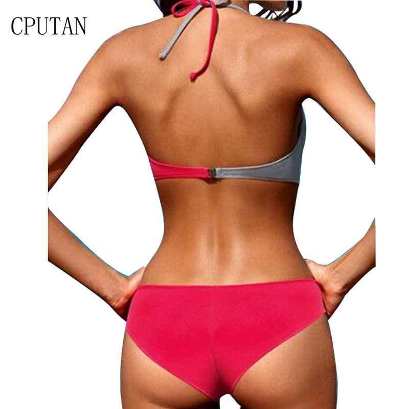 d4fc2f02e1562 ... Bikini 2019 Push Up Women Swimsuit Set Halter Cross Bathing Suit Solid  Plus Size Two Piece ...