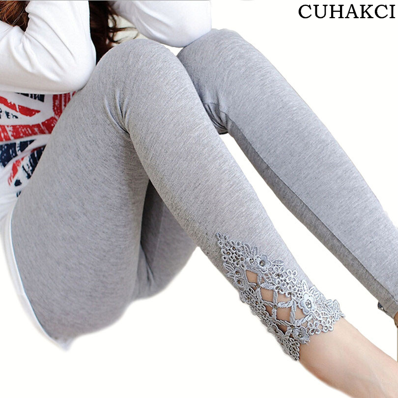 CUHAKCI Women Cotton Clothing Knitted Legin High Elastic   Leggings   Hollow Out Lace Diamond   Legging   Section Spring Autumn Trousers