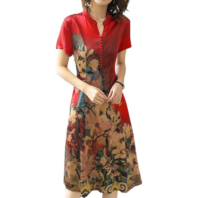 Women Red Flower Cheongsam Dress 2019 New Spring Summer Chinese Style Imitate Real Silk Print Fashion Elegant Vestidos 2XL HJ264
