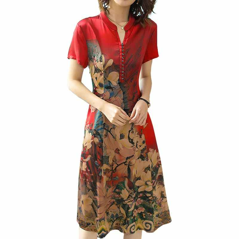 Women Red Flower Cheongsam Dress 2019 New Spring Summer Chinese Style Imitate Real Silk Print Fashion Elegant Vestidos 2XL HJ264