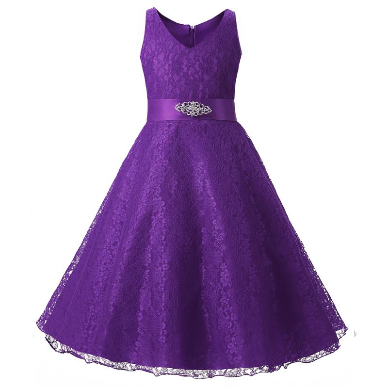 New lace christening long formal dress for teen girls kids for Wedding dresses for young girls