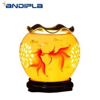 220V Ceramic Aroma Lamp Electric Dimming Oil Burner Goldfish Incense Burners Home Essential Oil Diffuser Romantic Fragrance Lamp