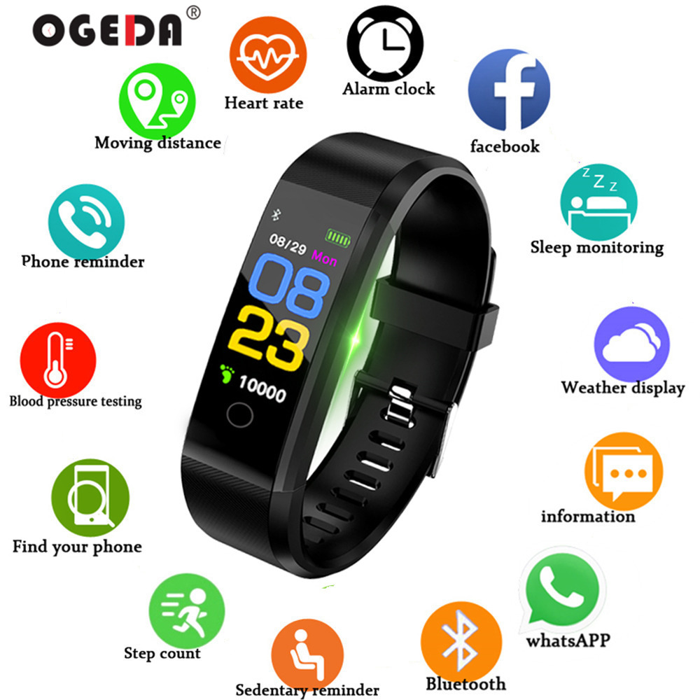 Smart Watch Men Bluetooth LED Heart Rate Blood Pressure Pedometer Sports Wristband Fitness Women For IOS Android 2019 OGEDASmart Watch Men Bluetooth LED Heart Rate Blood Pressure Pedometer Sports Wristband Fitness Women For IOS Android 2019 OGEDA