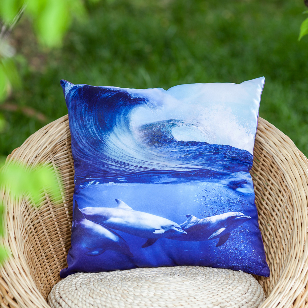 2017 new arrival Dolphin Butterfly Teddy Dog Parrot photo printed satin decorative pillow cover throw pillow cover cushion cover