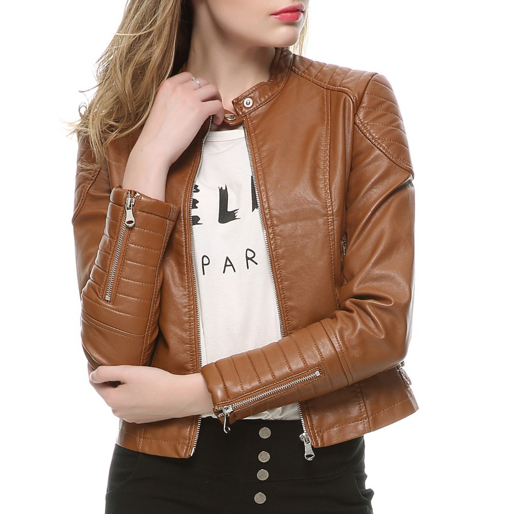 2018 Fashion Women Elegant Zipper Faux   Leather   Biker Jacket in Brown Black Slim Ladies Coat Casual brand Motorcycle   Leather   Coat