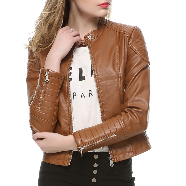 2020 Fashion Women Elegant Zipper Faux Leather Biker Jacket in Brown Black Slim Ladies Coat Casual brand Motorcycle Leather Coat