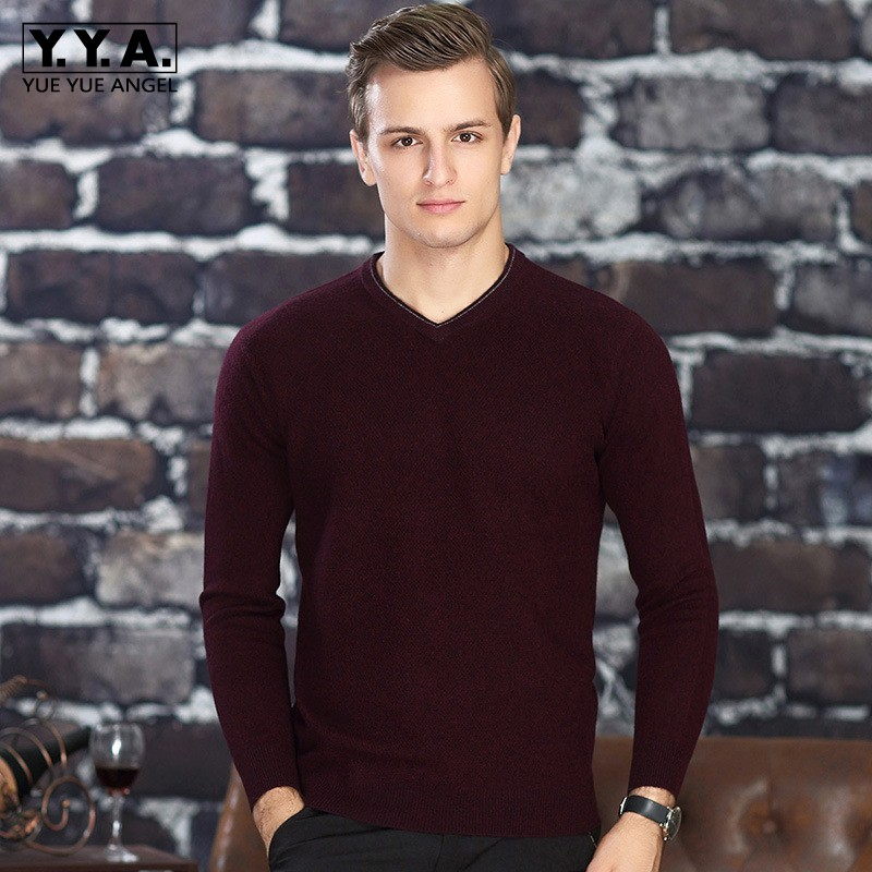Men Brand Luxury 100% Cashmere Business Casual Sweater V-Neck Winter Warm Slim Pullovers Male Thick Fashion Sweater Tops