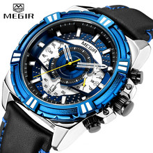 2019 New Mens Watches MEGIR Military Analog Watch Men Fashion Sport Chronograph Quartz Male Clock Relogio Masculino Waterproof(China)