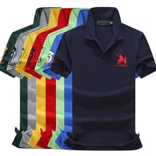 On sale 16 Colors 2019 summer 100% mesh cotton Big horse mens short sleeve polos shirts tops No.3 embroidery logo 908