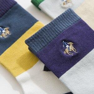 Image 5 - PIER POLO Calcetines de algodón para hombre, calcetín informal, bordado de negocios, Multicolor, 5 pares, venta al por mayor