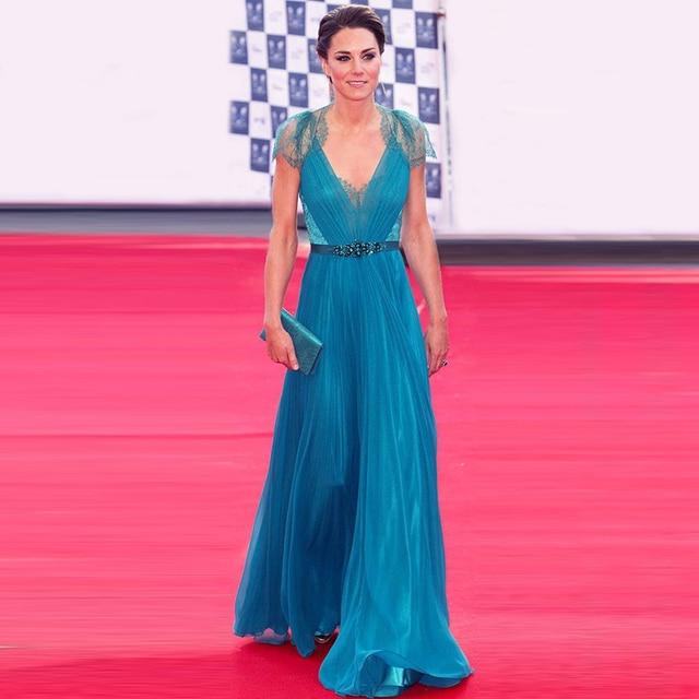 Por Encargo Superventas Kate Middleton Vestido de Gasa con cuello en V de Encaje Vestido de Fiesta de la Turquesa Vestido de Dama de honor